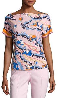 Emilio Pucci Printed Kimono-Sleeve Boat-Neck Top, Pink/Multi $650 thestylecure.com