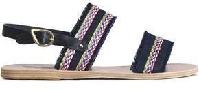 Ancient Greek Sandals Dinami Raffia-Trimmed Denim And Leather Slingback Sandals