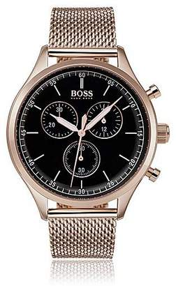 HUGO BOSS Rose-gold-plated watch with mesh bracelet