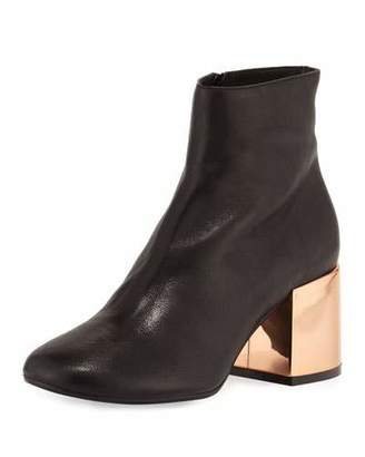 MM6 Maison Martin Margiela Leather Chunky-Heel Ankle Boot, Black $540 thestylecure.com