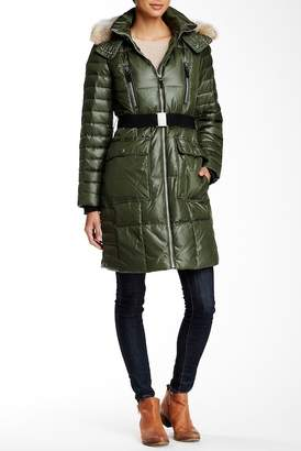 Andrew Marc Adrianne Genuine Coyote Fur Trimmed Quilted Jacket
