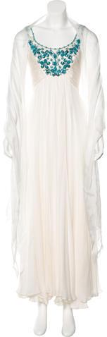 Carmen Marc ValvoCarmen Marc Valvo Silk Beaded Gown