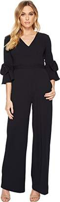 Donna Morgan Women's V Neck Jumpsuit with Bell Sleeve