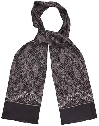 Reiss TRISTON SILK PAISLEY PRINTED SCARF Dark Grey