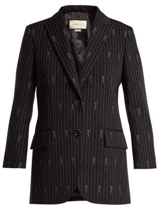 Gucci Logo Wool And Silk Blend Jacquard Blazer - Womens - Black