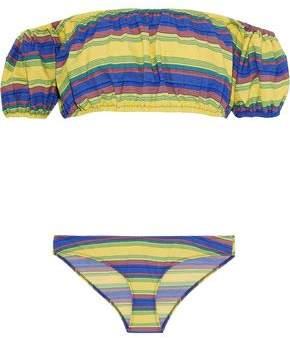 Lisa Marie Fernandez Leandra Off-The-Shoulder Striped Stretch-Cotton Bikini