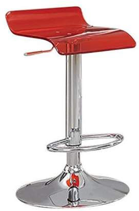 Benzara Trixy Bar Chair, Red Color With Acrylic Seat