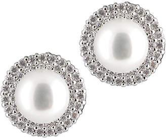Splendid Pearls Rhodium Plated Silver 8-8.5Mm Freshwater Pearl & Cz Earrings