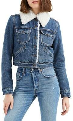 Levi's Extra Styled Faux Shearling-Trimmed Denim Trucker Jacket