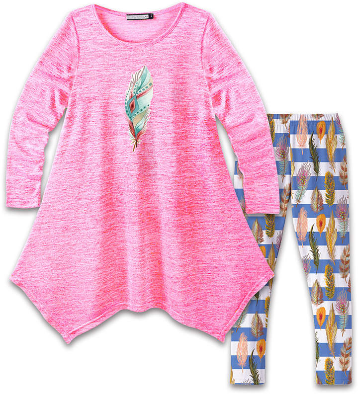 Neon Pink Feather Handkerchief Dress & Blue Stripe Leggings - Girls