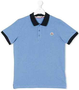 Moncler Teen contrast collar polo shirt