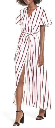 STONE ROW EZ Days Satin Wrap Maxi Dress