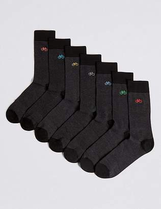 "Marks and Spencer 7 Pack Bicycle Design Freshfeetâ""¢ Socks"