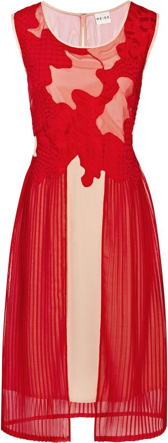 Reiss Dawn MESH + TECHNIQUE BODICE DRESS