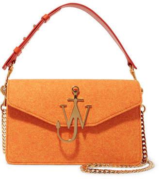 J.W.Anderson Logo Felt And Leather Shoulder Bag - Orange