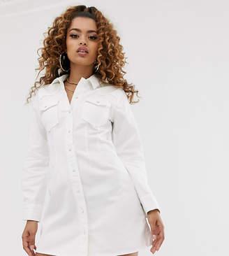 Asos DESIGN Petite denim fitted western shirt dress in white