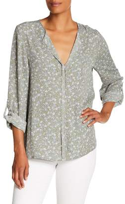 Bobeau B Collection by Print Pleat Back Blouse