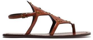 Saint Laurent Ella Studded Leather Sandals - Womens - Tan