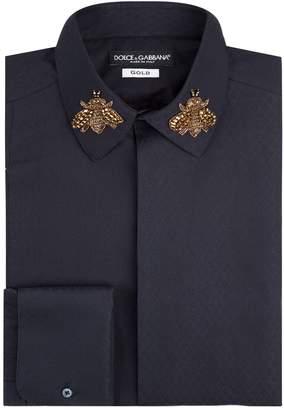 Dolce & Gabbana Embellished Bee Collar Shirt