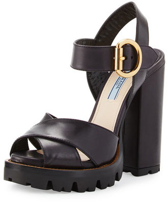 Prada Crisscross Leather Platform Sandal, Black (Nero) $875 thestylecure.com