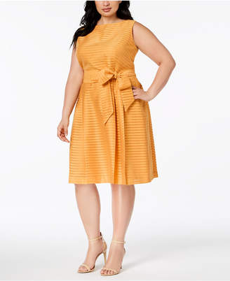 Anne Klein Plus Size Shadow-Striped Belted Fit & Flare Dress