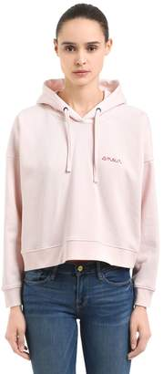 Amour Hooded Cotton Cropped Sweatshirt