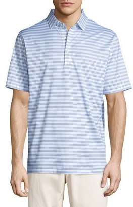 Peter Millar Charley Striped Cotton Lisle Polo Shirt, White/Blue $95 thestylecure.com