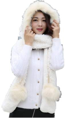 Generic Women Soft Plush Scarf and Faux Fur Hat Gloves 3 in 1 Set for Winter