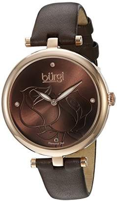 Burgi Women's BUR151BR Rose Gold Quartz Watch With Brown Diamond Dial And Brown Leather Strap