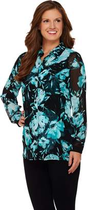 Susan Graver Printed Sheer Chiffon Big Shirt w/ Liquid Knit Tank