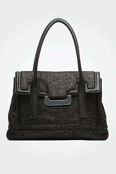 Laurèl Harper Metallic Tweed Bag In Black/silver