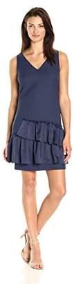 Eliza J Women's Petite V-Neck Dress Pleated Hem (Regular)