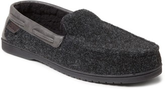 Dearfoams Men's Mixed Material Moccasin Slippers