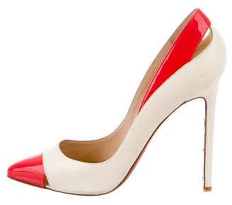 Christian Louboutin Leather Cutout Pointed-Toe Pumps