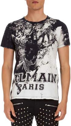Balmain Graphic-Print Jersey T-Shirt