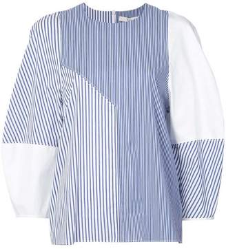 Tibi striped contrast top
