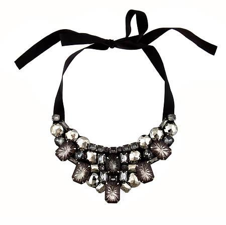 Blu Bijoux Crystal Encrusted Ribbon Bib Necklace