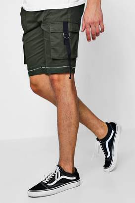 boohoo Zip Detail Woven Shorts With Tape Pocket