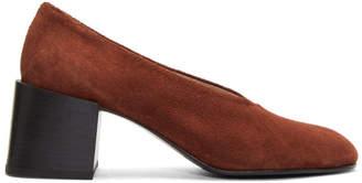 Acne Studios Brown Suede Sully Deconstructed Heels