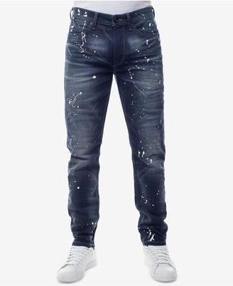 Sean John Men's Slim-Straight Fit Stretch Paint-Splatter Jeans, Created for Macy's