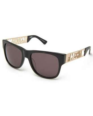 Moschino Laser-Cut Monochromatic Rectangular Sunglasses, Black $425 thestylecure.com