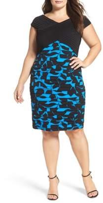 London Times Pintuck & Shutter Pleat Sheath Dress