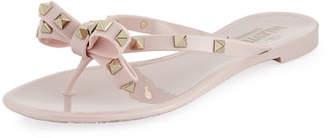 Valentino Jelly Rockstud Flat Thong Sandal