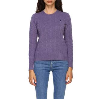 Polo Ralph Lauren Sweater Crew-neck Pullover In Braided Fabric With Logo
