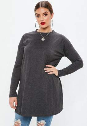 Missguided Curve Grey Long Sleeve Tunic