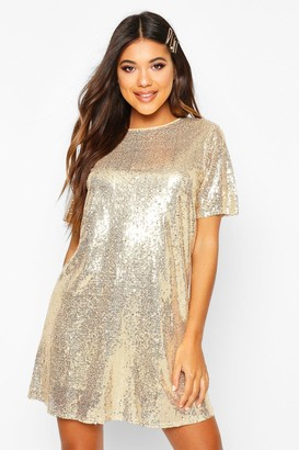boohoo Boutique Lacey Sequin T-Shirt Dress