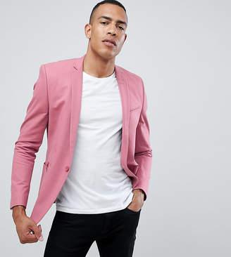 Asos Design DESIGN Tall skinny blazer in pink cotton