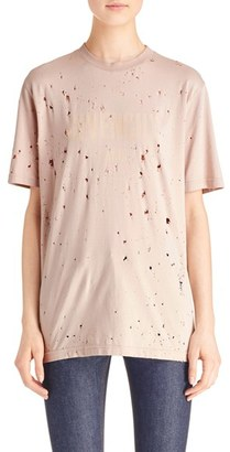 Women's Givenchy Logo Print Destroyed Stretch Jersey Tee $750 thestylecure.com