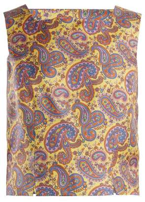 Etro Dorado Paisley Print Silk Twill Top - Womens - Yellow Print