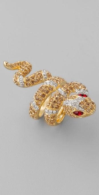 Kenneth Jay Lane Crystal Snake Ring